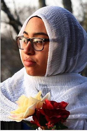 Bridal White premium crinkle hijab