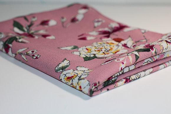 Pink Floral Print Thick Chiffon Hijab