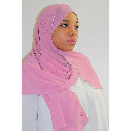 Pink Luxury Rhinestone Chiffon Hijab