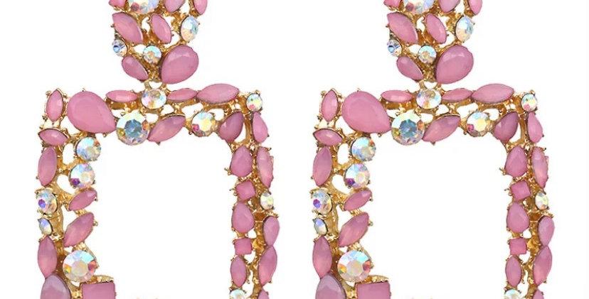 Pink crystal Door Knocker Earrings