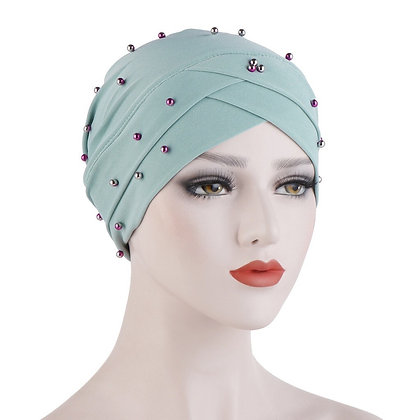 Aqua Pearl Turban/ hijab under cap