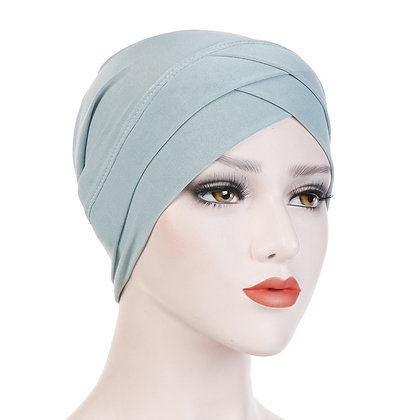 Azure turban/hijab under cap