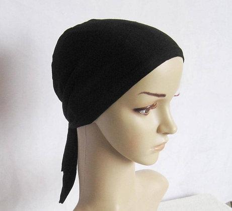 Black Hijab Tubes Inner Cap w.Tie