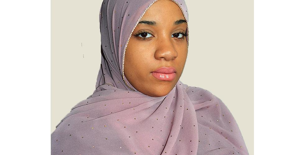 Muave Pink Rhinestone Chiffon Hijab
