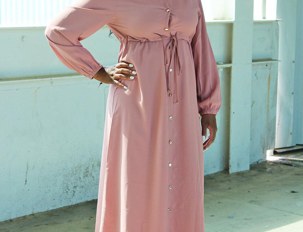 Pink Button Down Maxi Dress