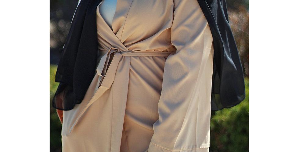 Nude Open Abaya W. Belt