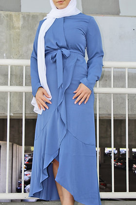 Azure Galore Wrap Dress