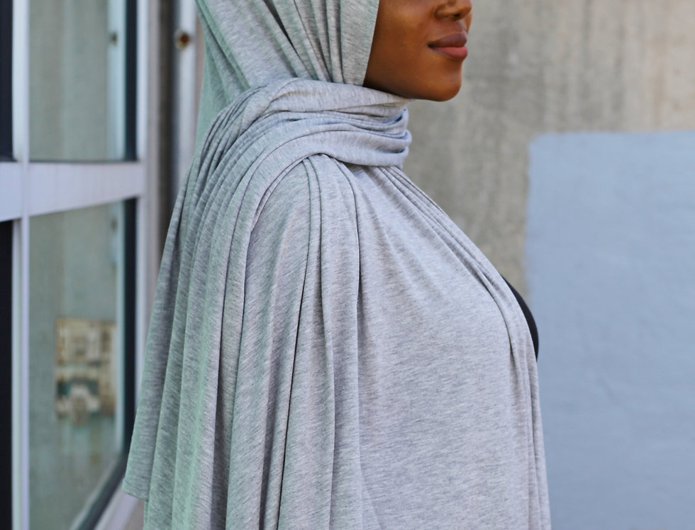 Gray Hoodie Light Weight Jersey Hijab