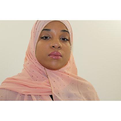 Baby Pink Luxury Rhinestone Chiffon Hijab