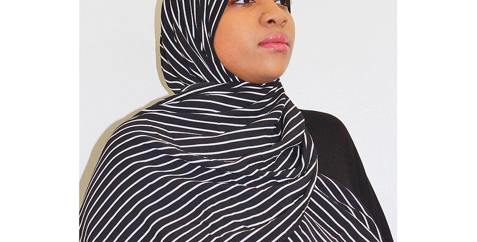 Black & White Striped Chiffon Hijab