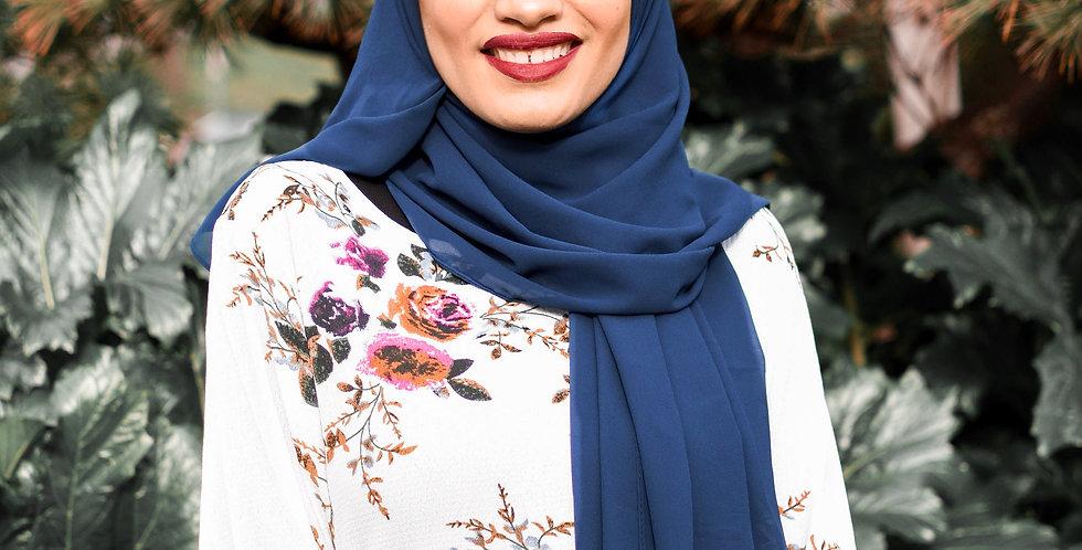 Navy blue Luxury Chiffon Hijab