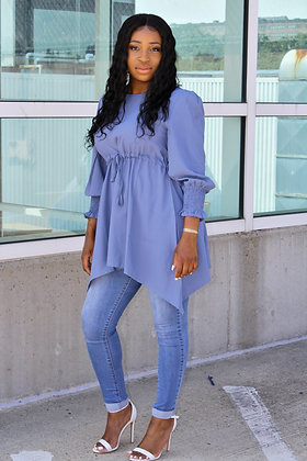 Blue Luxury Chiffon Blouse