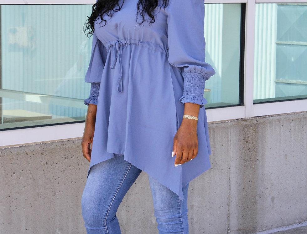 Blue Luxury Chiffon Blouse