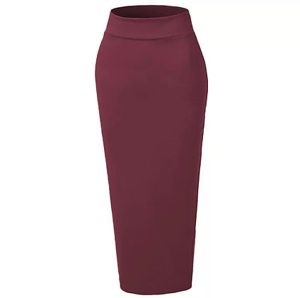 Wine Body Con Skirt