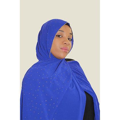 Royal Blue Luxury Rhinestone Chiffon Hijab