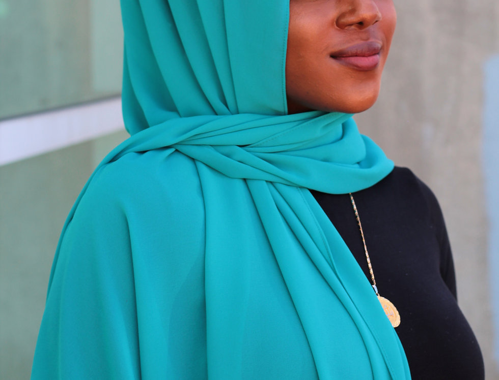 Turquoise Blue Luxury Chiffon Hijab