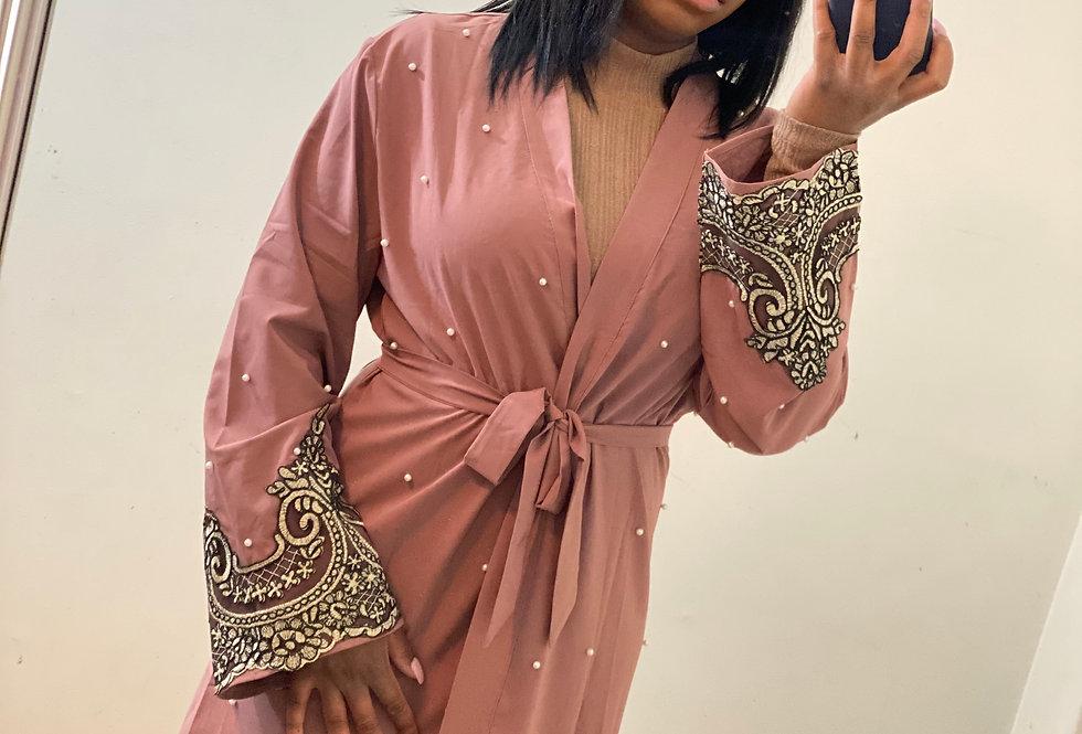 Mauve Lux Pearl Abaya