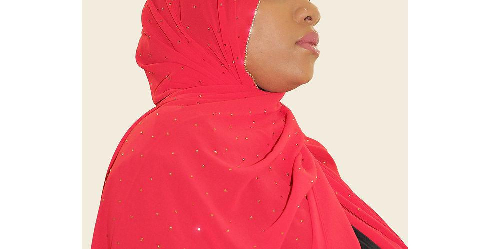 Scarlet Red Luxury Rhinestone Chiffon Hijab