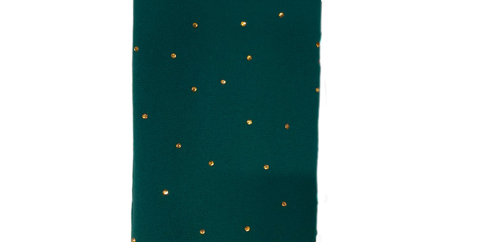 Pine Green Luxury Rhinestone Chiffon Hijab