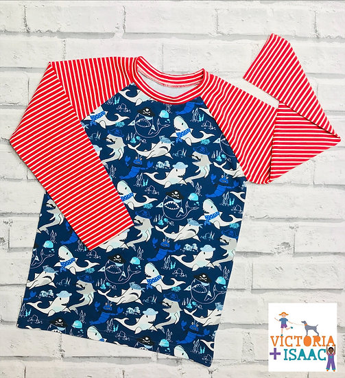 Pirate Sharks Baseball-Style T-Shirt