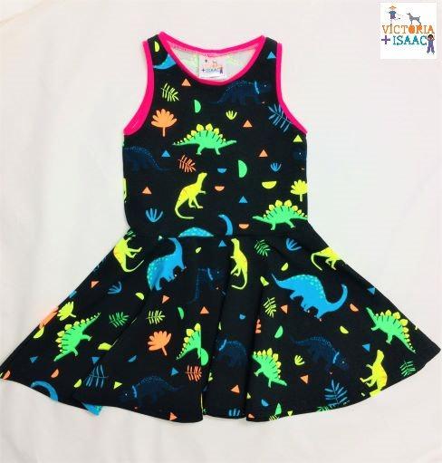 Neon Dinos Twirly Dress