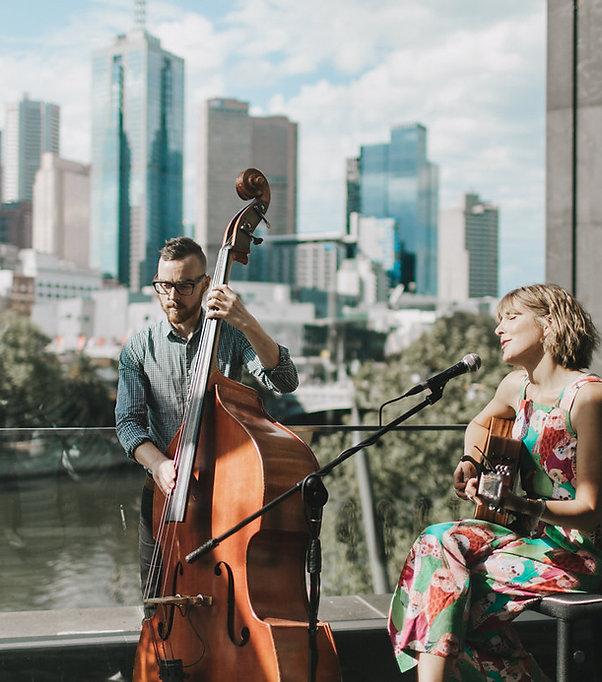 Wedding Music Magic at the Metropolis Balcony in Melbourne. Metropolis wedding music, wedding duo, best wedding duo, double bass and guitar, elk and willow, Special wedding music, Melbourne band