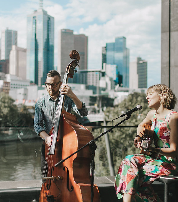 Wedding Music Magic at the Metropolis Balcony in Melbourne. Metropolis wedding music, wedding duo, best wedding duo, double bass and guitar, elk and willow, Special wedding music, Melbourne band