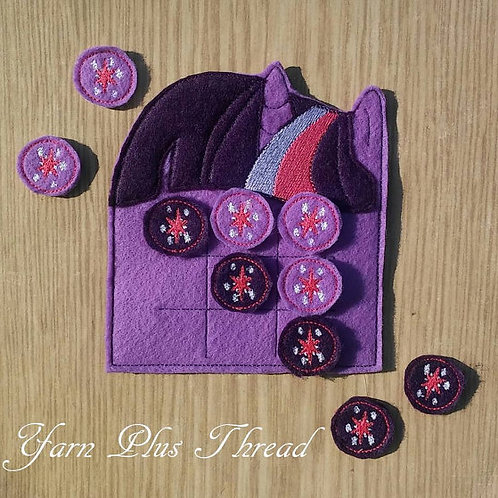 Purple Horse Tic Tac Toe Felt Game