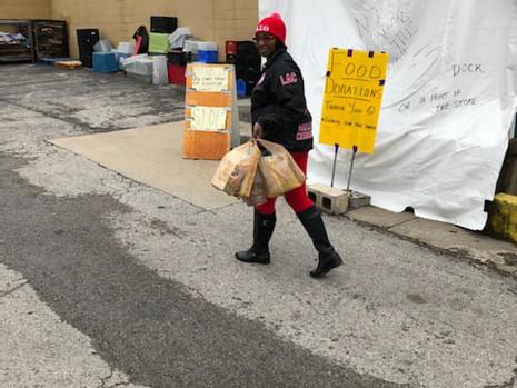 Soror Fontaine delivering donations Apri