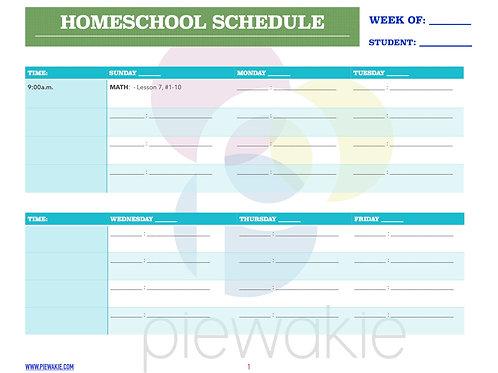 Homeschool Schedule Template 1