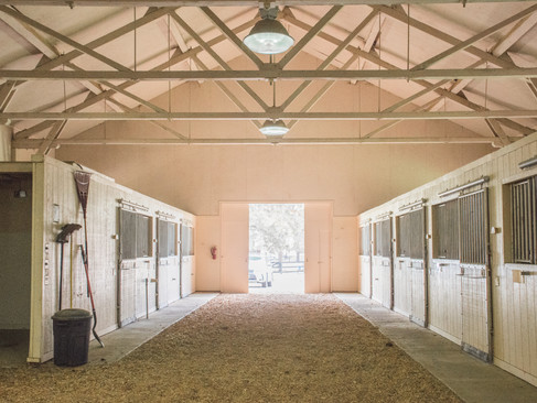 Stalls in one wing of the barn