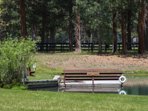 The dock we call Erna's Landing after our ranch matriarch