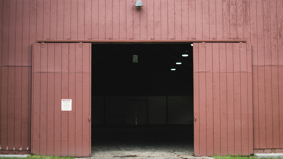 Entrance to lighted indoor arena