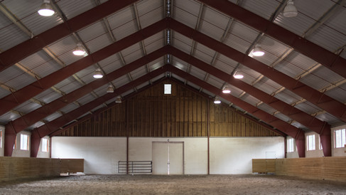 Interior of lighted indoor arena