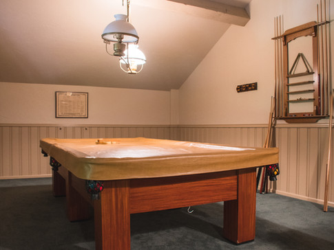Snooker table in clubhouse game room