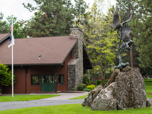 CMR Clubhouse and sculpture