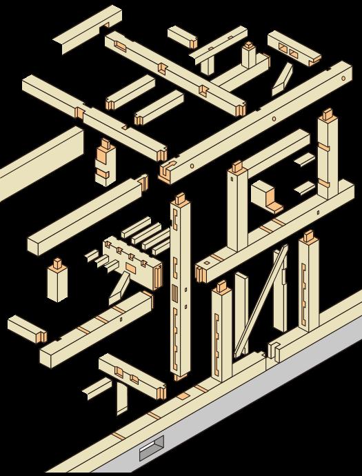機械プレカットによって加工される木材