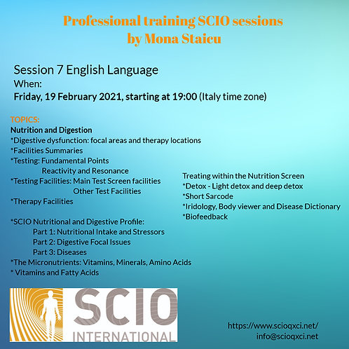 Seventh Session English Language: Professional training SCIO sessions