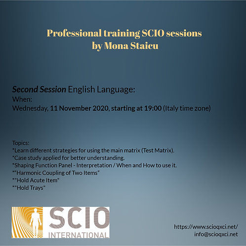 Second Session English Language: Professional training SCIO sessions.