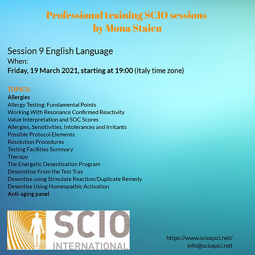 Ninth Session English Language: Professional training SCIO sessions