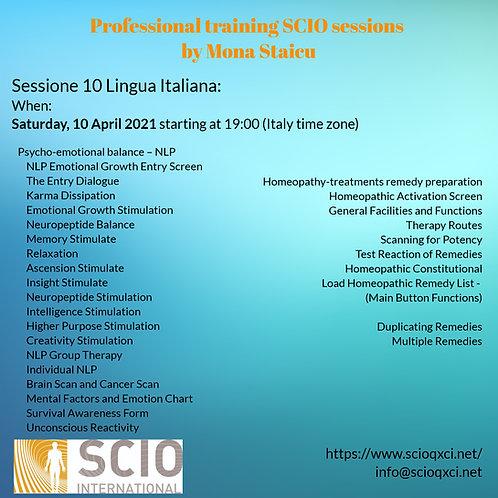 Sessione 10 Lingua Italiana: Professional training SCIO sessions