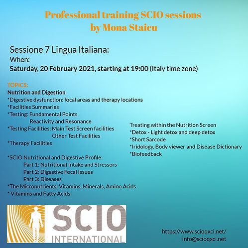 Sessione 7 Lingua Italiana: Professional training SCIO sessions
