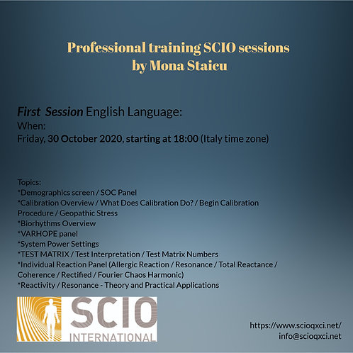 First Session English Language: Professional training SCIO sessions