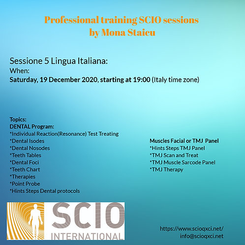 Sessione 5 Lingua Italiana: Professional training SCIO sessions