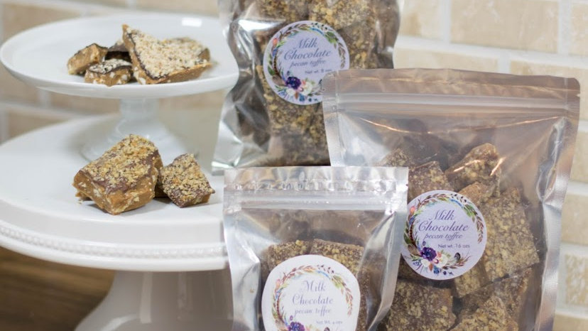 Sample pack 3-1 lb Milk, Dark & White Chocolate Almond Toffee