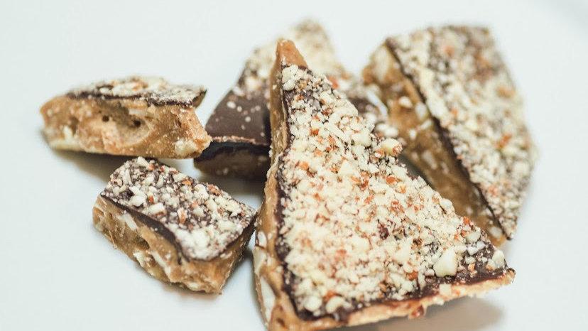 Dark Chocolate Pecan Toffee 8 ozs