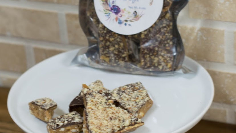 Dark Chocolate Almond Toffee 16ozs.