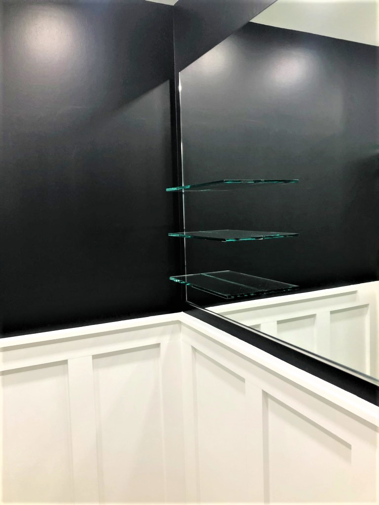 Mirror with glass shelves