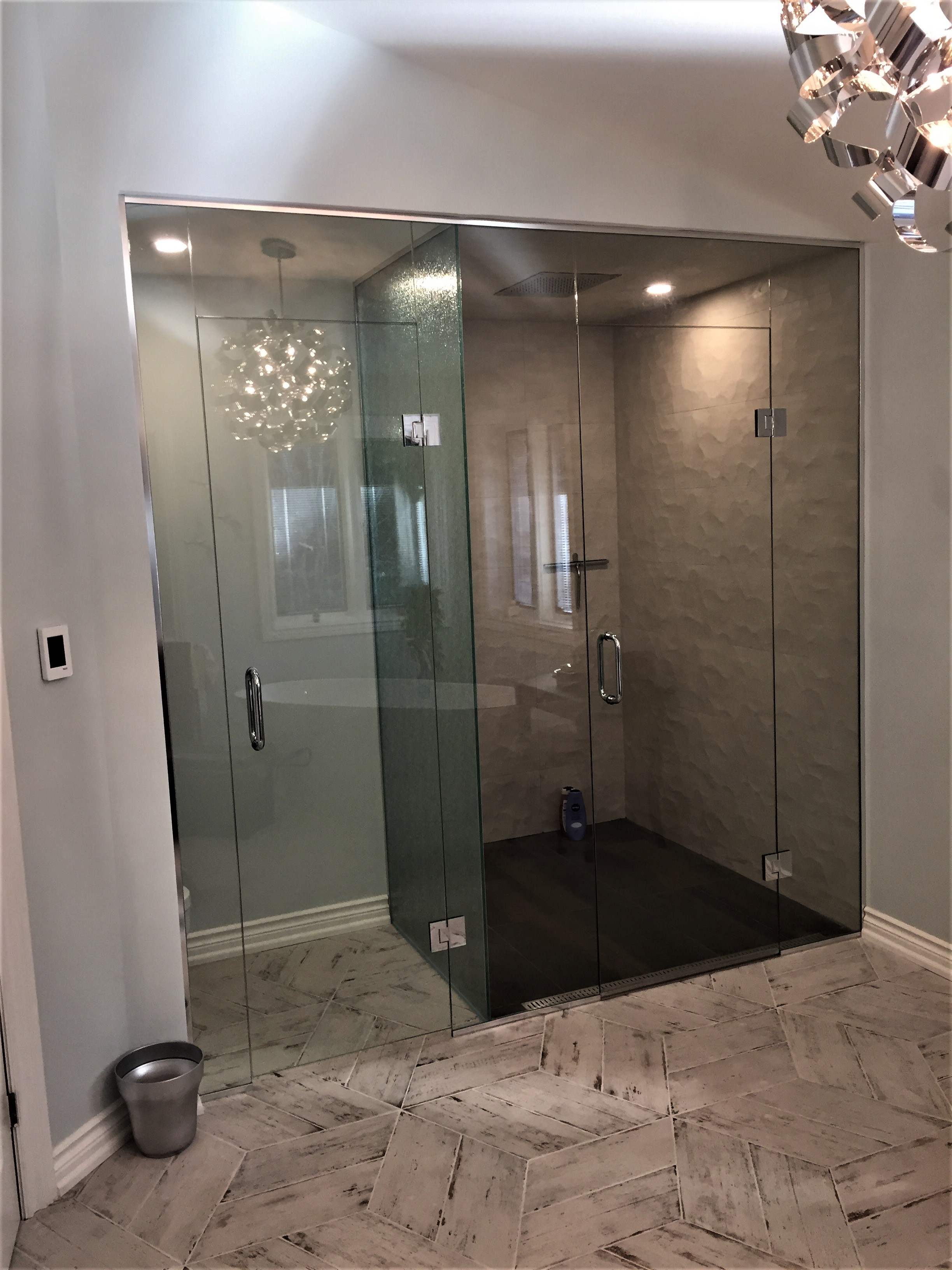 Glass shower & water closet