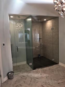 Glass shower & water closet